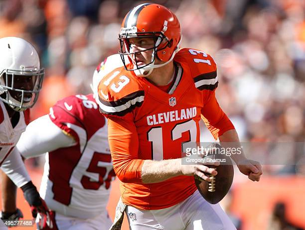Josh McCown of the Cleveland Browns look for a open receiver while playing the Arizona Cardinals at FirstEnergy Stadium on November 1 2015 in...