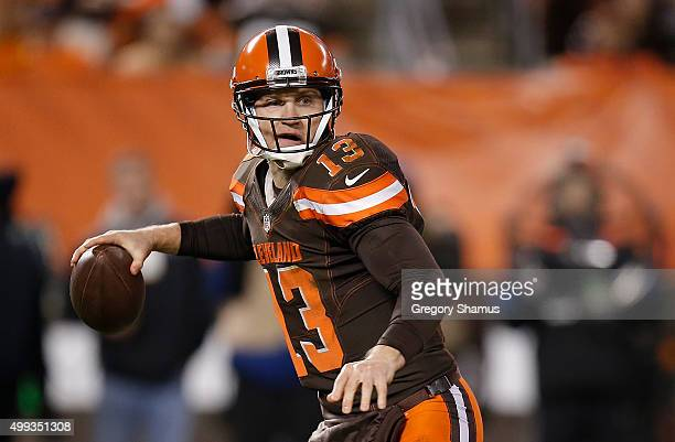 Josh McCown of the Cleveland Browns looks to pass during the first quarter against the Baltimore Ravens at FirstEnergy Stadium on November 30 2015 in...
