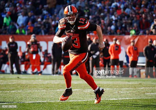 Josh McCown of the Cleveland Browns looks to pass during the second quarter against the New York Giants at FirstEnergy Stadium on November 27 2016 in...