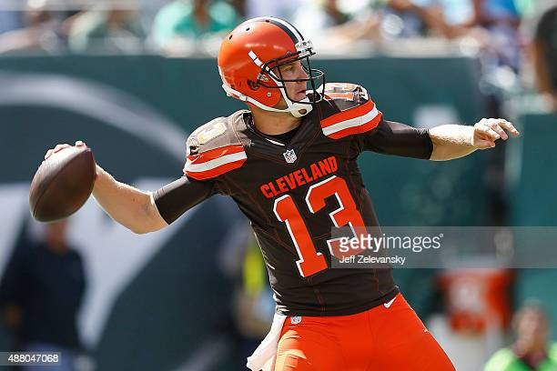 Josh McCown of the Cleveland Browns passes against the New York Jets during the game at MetLife Stadium on September 13 2015 in East Rutherford New...