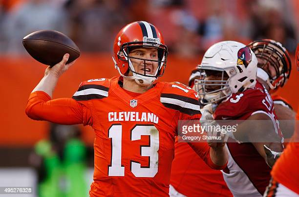 Josh McCown of the Cleveland Browns throws a fourth quarter pass while playing the Arizona Cardinals at FirstEnergy Stadium on November 1 2015 in...