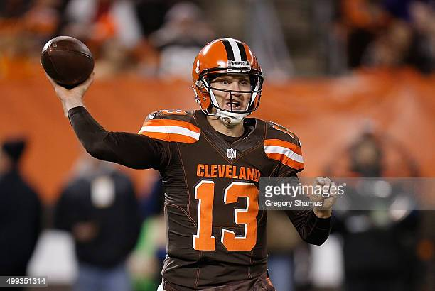 Josh McCown of the Cleveland Browns throws a pass during the first quarter against the Baltimore Ravens at FirstEnergy Stadium on November 30 2015 in...