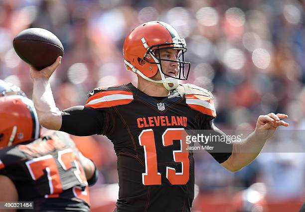 Josh McCown of the Cleveland Browns throws a pass during the second quarter against the Oakland Raiders at FirstEnergy Stadium on September 27 2015...