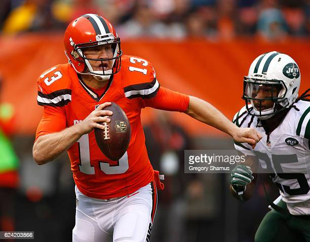 Josh McCown of the Cleveland Browns throws a pass during the second quarter against the New York Jets at FirstEnergy Stadium on October 30 2016 in...