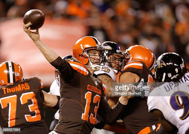 Josh McCown of the Cleveland Browns throws the ball during the fourth quarter against the Baltimore Ravens at FirstEnergy Stadium on November 30 2015...