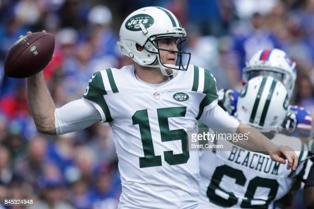 Josh McCown of the New York Jets attempts to throw the ball during the first half against the Buffalo Bills on September 10 2017 at New Era Field in...