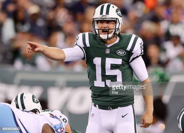 Josh McCown of the New York Jets calls out the play in the first quarter against the Tennessee Titans during a preseason game at MetLife Stadium on...