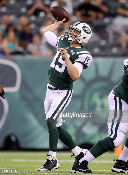 Josh McCown of the New York Jets makes a pass for the first down in the first quarter against the Tennessee Titans during a preseason game at MetLife...