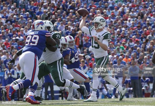 Josh McCown of the New York Jets throws the ball during NFL game action against the Buffalo Bills at New Era Field on September 10 2017 in Buffalo...