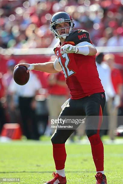 Josh McCown of the Tampa Bay Buccaneers attempts a pass during an NFL football game against the New Orleans Saints at Raymond James Stadium on...
