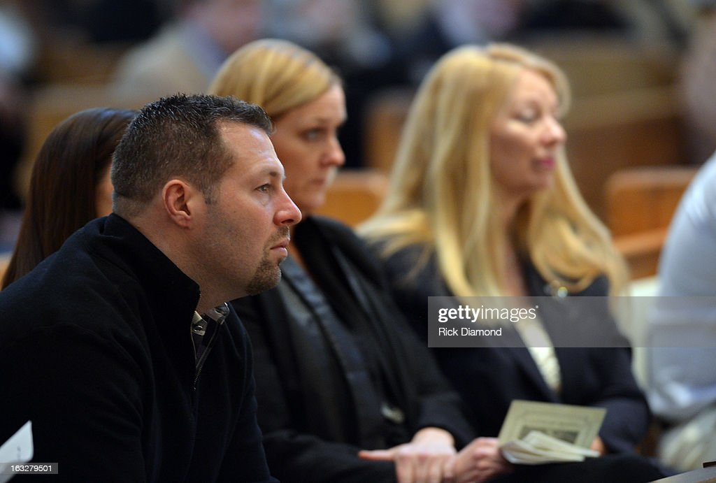 Josh McCready - Mindy's Brother and Gayle Inge - Mindy's Mother attend the memorial service for Mindy McCready at Cathedral of the Incarnation on March 6, 2013 in Nashville, Tennessee. McCready was found dead from an apparent suicide on February 17, 2013 at her home in Heber Springs, Arkansas.