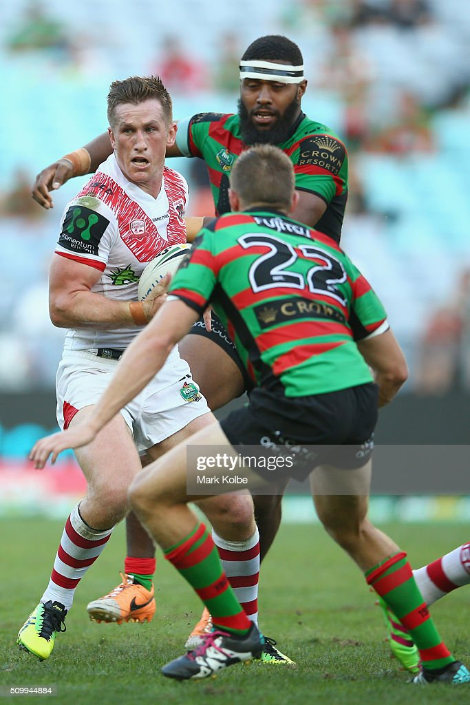 Josh McCrone of the Dragons runs the ball during the NRL Charity Shield match between the St George Illawarra Dragons and the South Sydney Rabbitohs at ANZ Stadium on February 13, 2016 in Sydney, Australia.