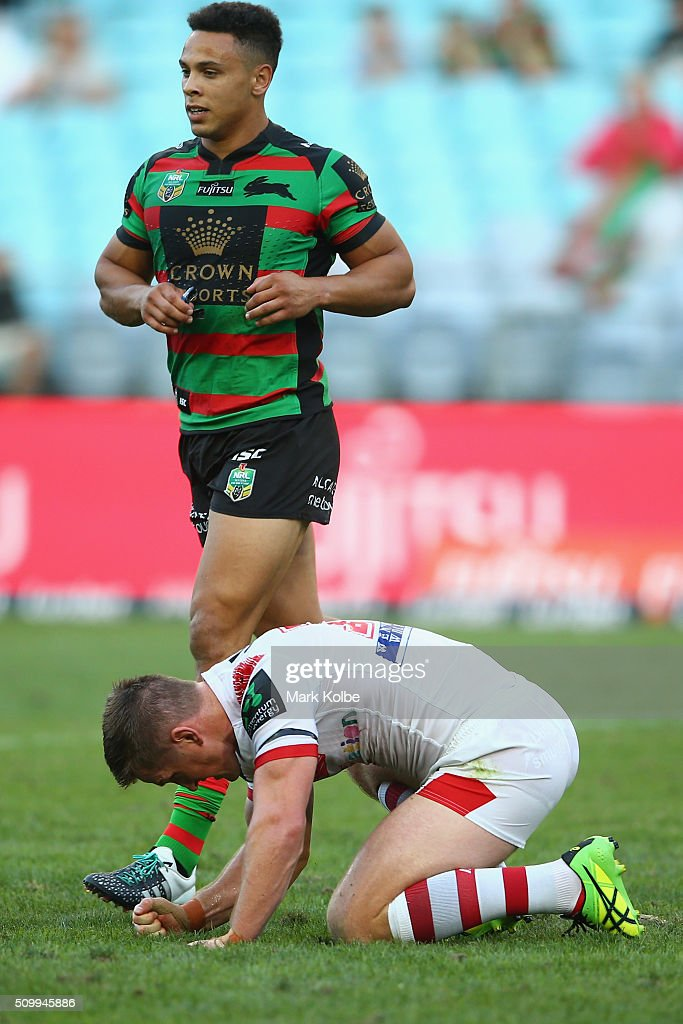 Josh McCrone of the Dragons shows his frustration during the NRL Charity Shield match between the St George Illawarra Dragons and the South Sydney Rabbitohs at ANZ Stadium on February 13, 2016 in Sydney, Australia.