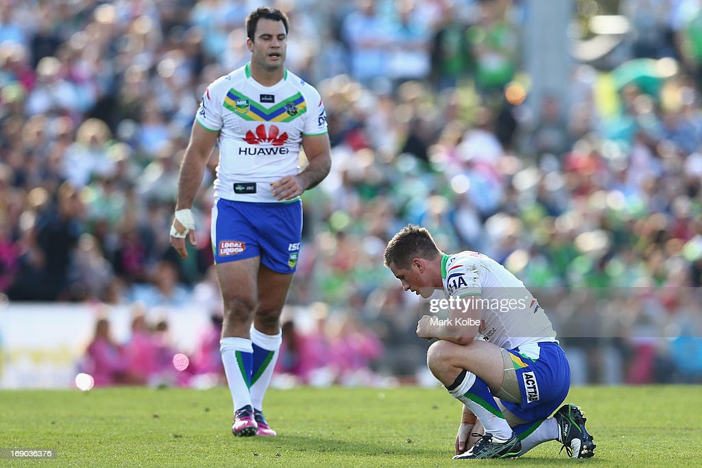 Josh McCrone of the Raiders stays down with an injury during the round 10 NRL match between the Cronulla Sharks and the Canberra Raiders at Sharks Stadium on May 19, 2013 in Sydney, Australia.