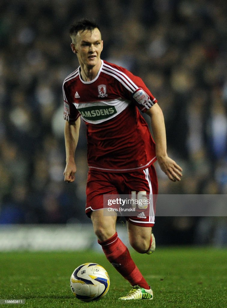 <a gi-track='captionPersonalityLinkClicked' href=/galleries/search?phrase=Josh+McEachran&family=editorial&specificpeople=6871629 ng-click='$event.stopPropagation()'>Josh McEachran</a> of Middlesbrough in action during the npower Championship match between Leeds United and Middlesbrough at Elland Road on December 22, 2012 in Leeds, England.