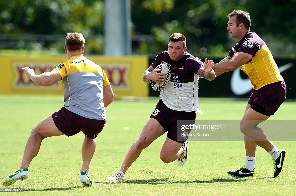 Josh McGuire attempts to break through the defence during a Brisbane Broncos NRL training session on March 7, 2013 in Brisbane, Australia.