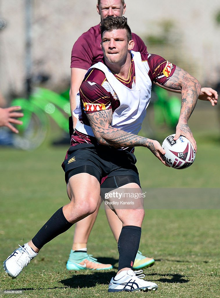 Josh McGuire looks to pass during a Queensland Maroons State of Origin training session on May 29, 2016 in Gold Coast, Australia.