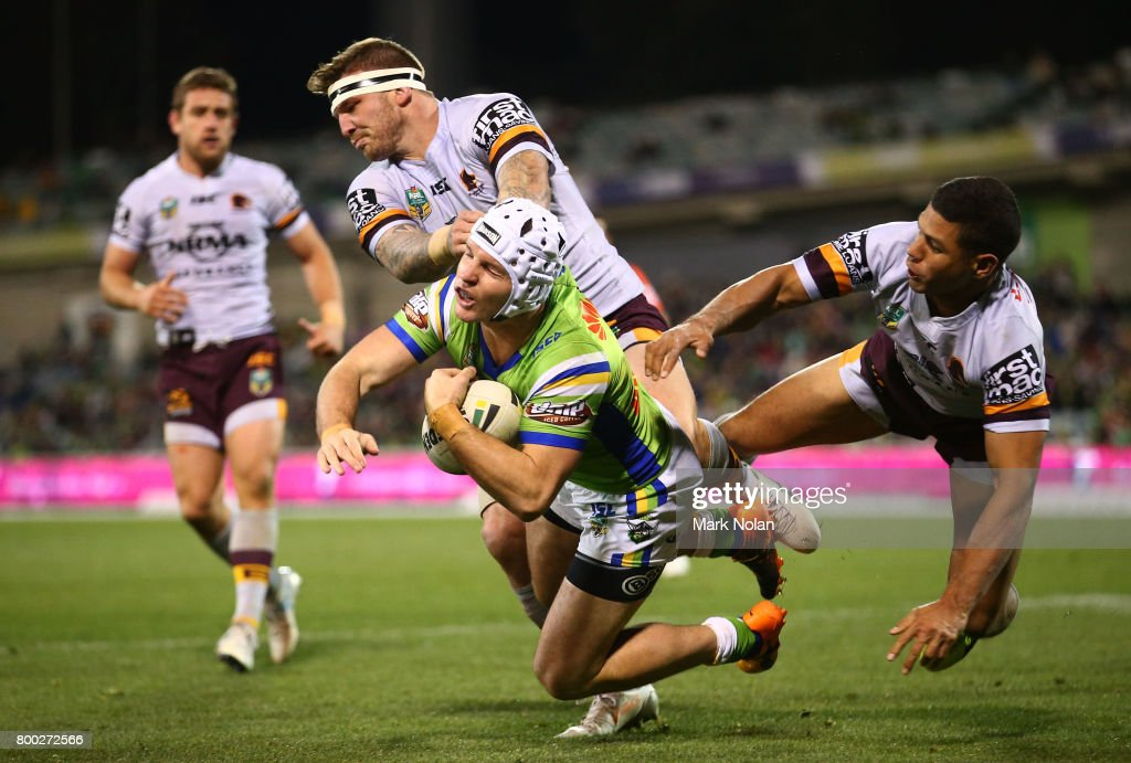 Josh McGuire of the Broncos tackles Jarrod Croker of the Raiders during the round 16 NRL match between the Canberra Raiders and the Brisbane Broncos at GIO Stadium on June 24, 2017 in Canberra, Australia.