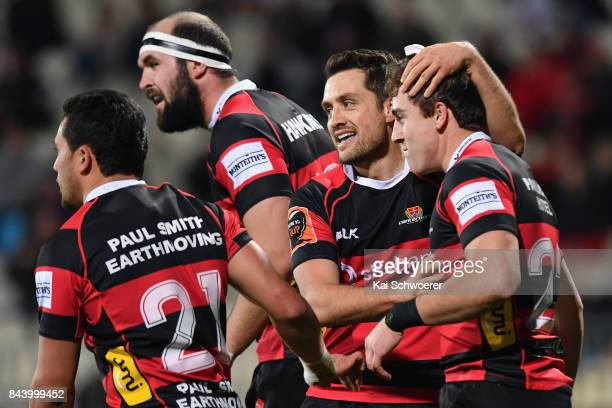 Josh McKay of Canterbury is congratulated by Tim Bateman of Canterbury after scoring a try during the Ranfurly Shield round four Mitre 10 Cup match...