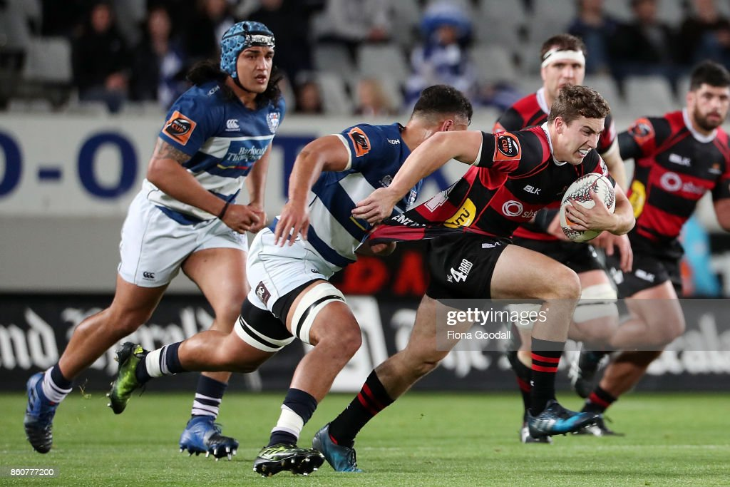 Josh McKay of Canterbury (R) is tackled by Samuel Slade of Auckland (L) during the round nine Mitre 10 Cup match between Auckland and Canterbury at Eden Park on October 13, 2017 in Auckland, New Zealand.