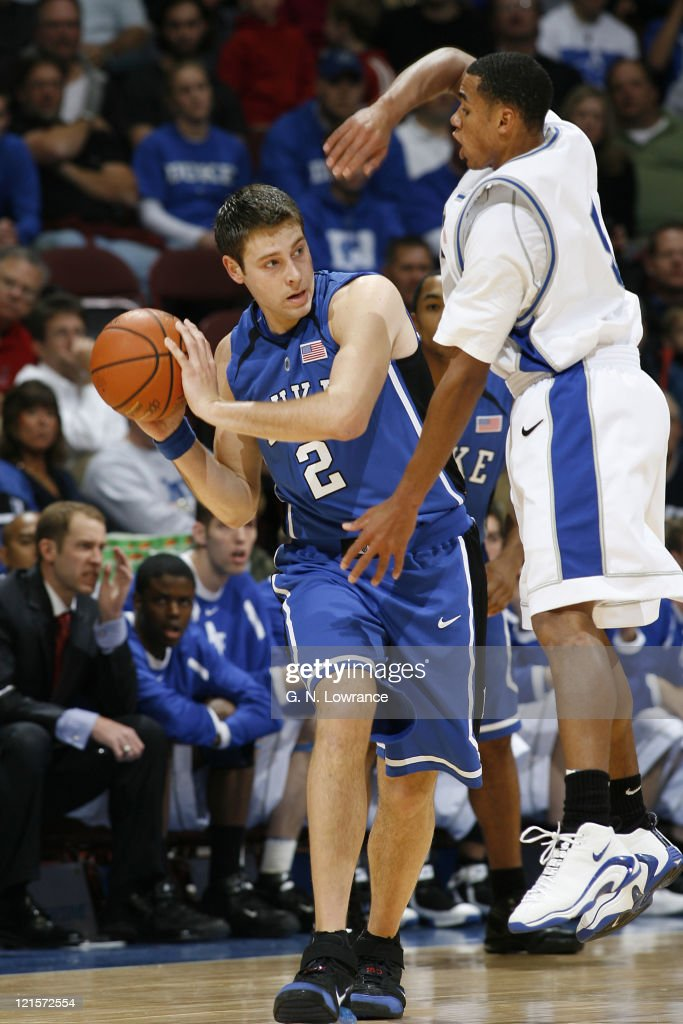 <a gi-track='captionPersonalityLinkClicked' href=/galleries/search?phrase=Josh+McRoberts&family=editorial&specificpeople=732530 ng-click='$event.stopPropagation()'>Josh McRoberts</a> of Duke looks to pass during semi-final action between Air Force and Duke at the annual CBE Classic at Municipal Auditorium in Kansas City, Missouri on November 20, 2006. Duke won 71-56.