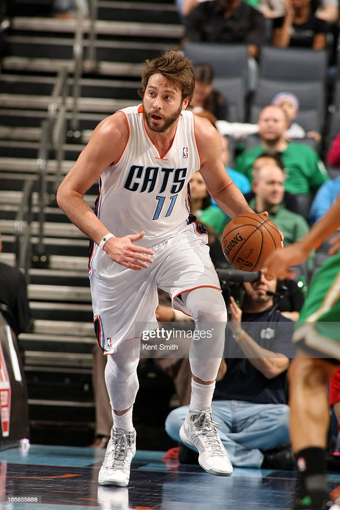 Josh McRoberts #11 of the Charlotte Bobcats dribbles up the floor against the Boston Celtics at the Time Warner Cable Arena on March 12, 2013 in Charlotte, North Carolina.
