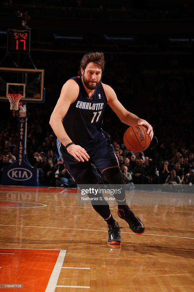 Josh McRoberts #11 of the Charlotte Bobcats drives to the basket against the New York Knicks on March 29, 2013 at Madison Square Garden in New York City.