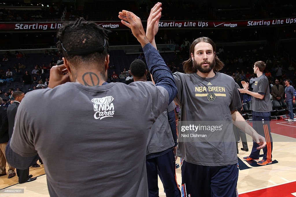 Josh McRoberts #11 of the Charlotte Bobcats is introduced before a game against the Washington Wizards during the game at the Verizon Center on April 9, 2014 in Washington, DC.