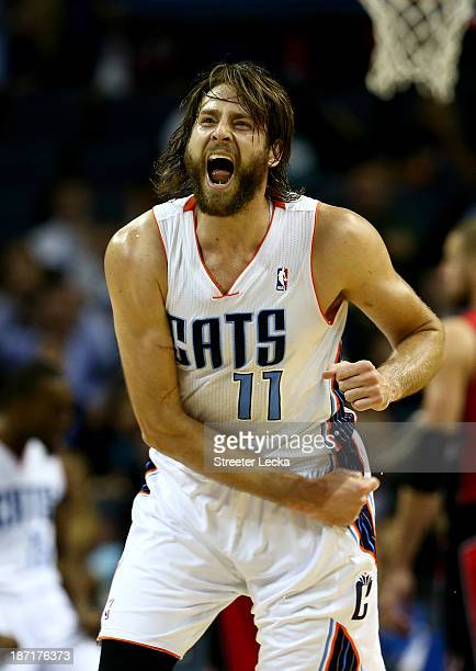 Josh McRoberts of the Charlotte Bobcats reacts after a play during their game against the Toronto Raptors at Time Warner Cable Arena on November 6...