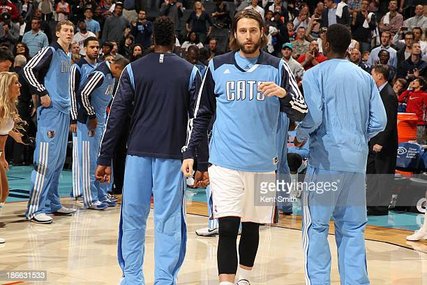 Josh McRoberts of the Charlotte Bobcats runs out before the game against the Cleveland Cavaliers on November 1 2013 in Charlotte North Carolina NOTE...