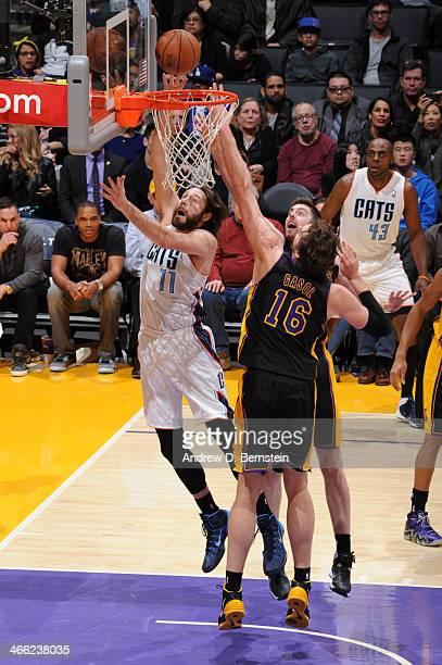 Josh McRoberts of the Charlotte Bobcats shoots against the Los Angeles Lakers at STAPLES Center on January 31 2014 in Los Angeles California NOTE TO...