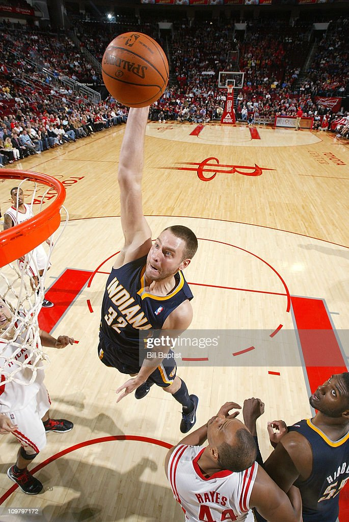 <a gi-track='captionPersonalityLinkClicked' href=/galleries/search?phrase=Josh+McRoberts&family=editorial&specificpeople=732530 ng-click='$event.stopPropagation()'>Josh McRoberts</a> #32 of the Indiana Pacers shoots the ball over <a gi-track='captionPersonalityLinkClicked' href=/galleries/search?phrase=Chuck+Hayes&family=editorial&specificpeople=206129 ng-click='$event.stopPropagation()'>Chuck Hayes</a> #44 of the Houston Rockets on March 5, 2011 at the Toyota Center in Houston, Texas.