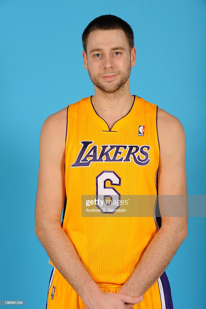 Josh McRoberts #6 of the Los Angeles Lakers takes his media day portrait at Staples Center on December 19, 2011 in Los Angeles, California.