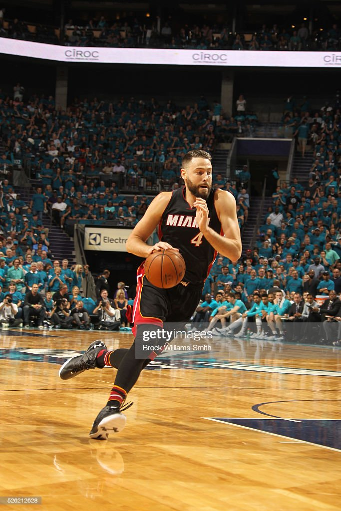 <a gi-track='captionPersonalityLinkClicked' href=/galleries/search?phrase=Josh+McRoberts+-+Basketball+Player&family=editorial&specificpeople=732530 ng-click='$event.stopPropagation()'>Josh McRoberts</a> #4 of the Miami Heat drives against the Charlotte Hornets in Game Six of the Eastern Conference Quarterfinals during the 2016 NBA Playoffs on April 29, 2016 at Time Warner Cable Arena in Charlotte, North Carolina.