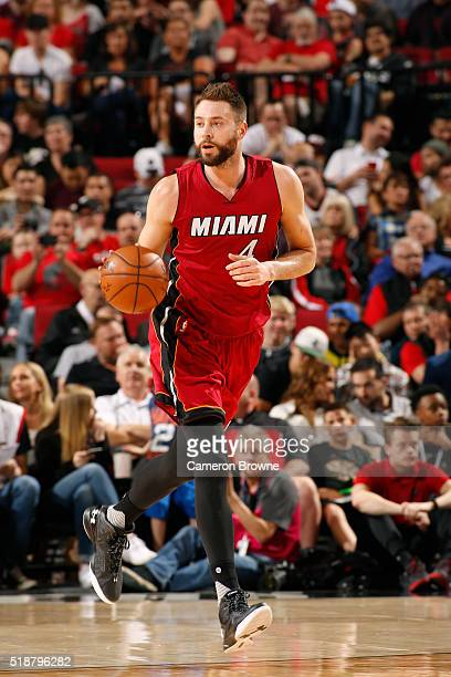 Josh McRoberts of the Miami Heat drives up court against the Portland Trail Blazers during the game on April 2 2016 at Moda Center in Portland Oregon...