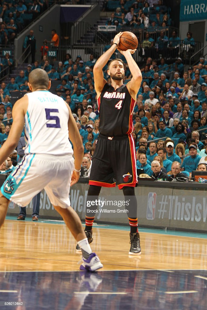 <a gi-track='captionPersonalityLinkClicked' href=/galleries/search?phrase=Josh+McRoberts+-+Basketball+Player&family=editorial&specificpeople=732530 ng-click='$event.stopPropagation()'>Josh McRoberts</a> #4 of the Miami Heat shoots against <a gi-track='captionPersonalityLinkClicked' href=/galleries/search?phrase=Nicolas+Batum&family=editorial&specificpeople=3746275 ng-click='$event.stopPropagation()'>Nicolas Batum</a> #5 of the Charlotte Hornets in Game Six of the Eastern Conference Quarterfinals during the 2016 NBA Playoffs on April 29, 2016 at Time Warner Cable Arena in Charlotte, North Carolina.