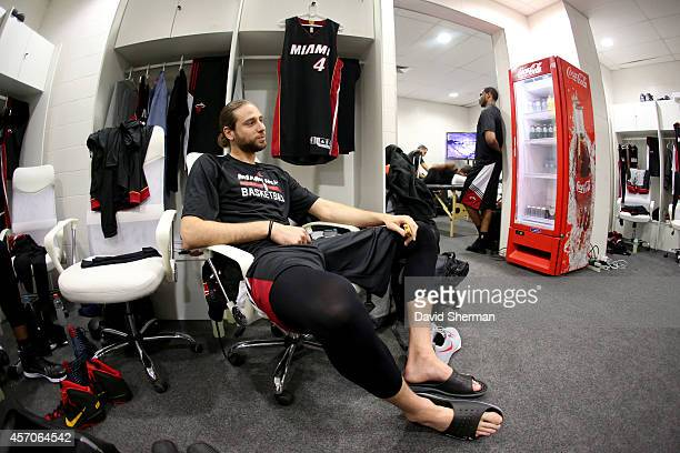 Josh McRoberts of the Miami Heat sits int she locker room before a game against the Cleveland Cavaliers at the HSBC Arena as a part of NBA Global...