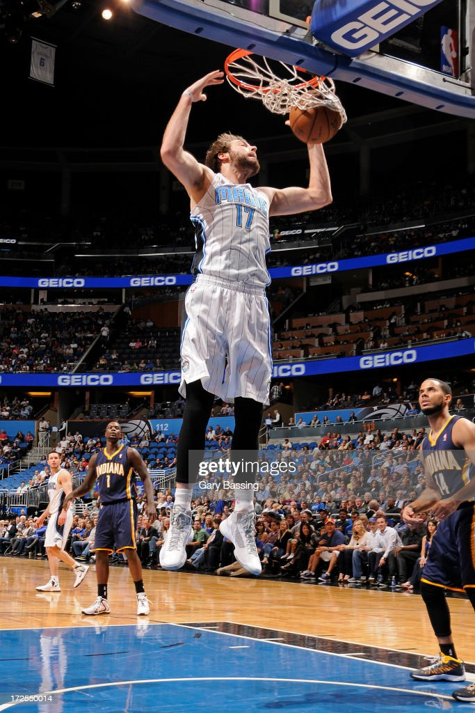 <a gi-track='captionPersonalityLinkClicked' href=/galleries/search?phrase=Josh+McRoberts+-+Basketball+Player&family=editorial&specificpeople=732530 ng-click='$event.stopPropagation()'>Josh McRoberts</a> #17 of the Orlando Magic dunks during a game against the Indiana Pacers on January 16, 2013 at Amway Center in Orlando, Florida.