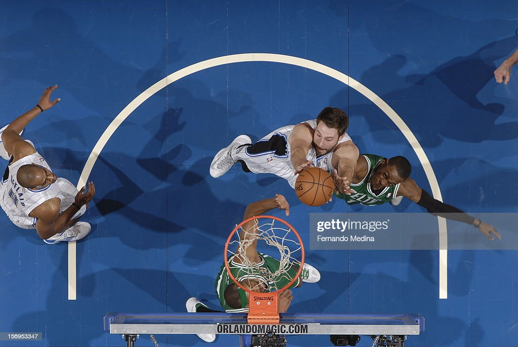 Josh McRoberts #17 of the Orlando Magic goes to the basket during the game between the Boston Celtics and the Orlando Magic on November 25, 2012 at Amway Center in Orlando, Florida.