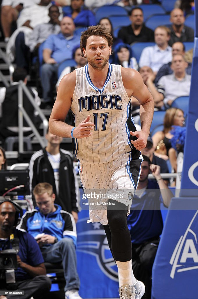 Josh McRoberts #17 of the Orlando Magic runs up the court against the Atlanta Hawks during the game on February 13, 2013 at Amway Center in Orlando, Florida.