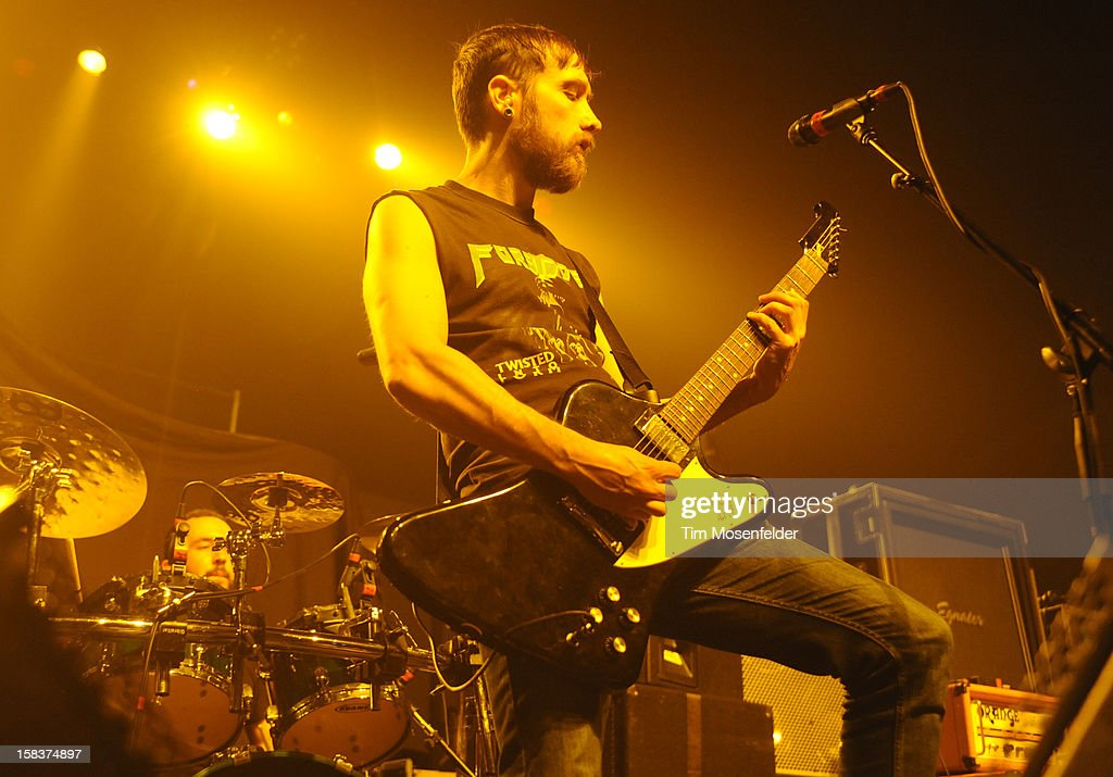 Josh Middleton of Sylosis performs in support of the bands' 'Monolith' release at The Warfield on December 13, 2012 in San Francisco, California.