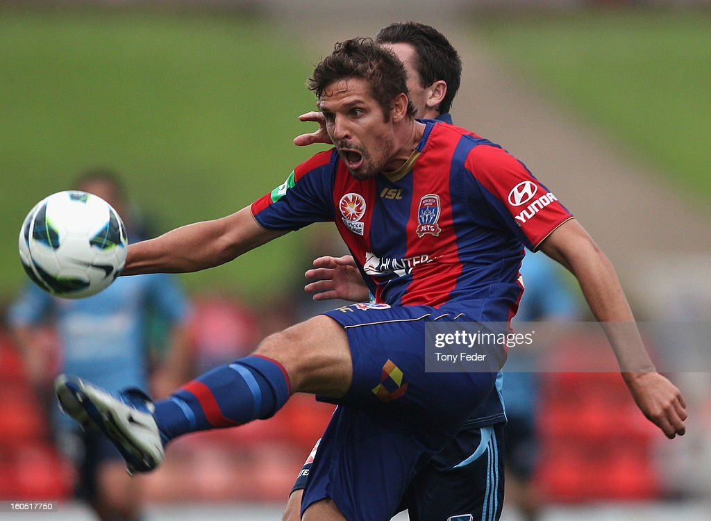 Josh Mitchell of the Jets in action during the round 19 A-League match between the Newcastle Jets and Sydney FC at Hunter Stadium on February 2, 2013 in Newcastle, Australia.