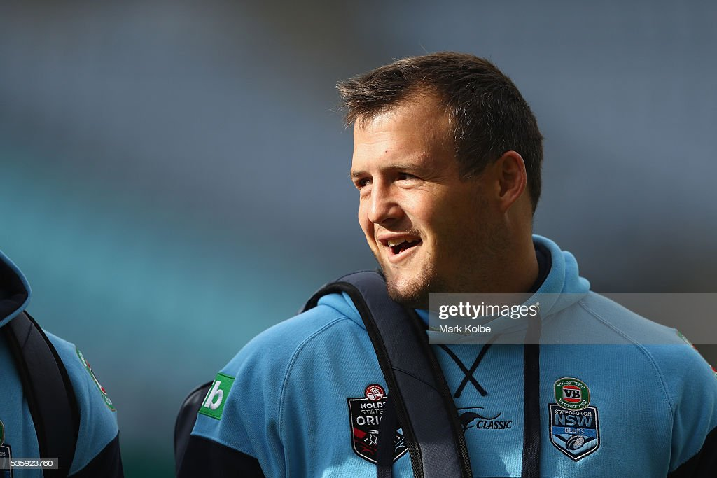 Josh Morris arrives for the New South Wales State of Origin captain's run at ANZ Stadium on May 31, 2016 in Sydney, Australia.