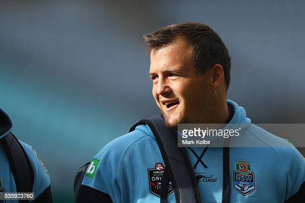 Josh Morris arrives for the New South Wales State of Origin captain's run at ANZ Stadium on May 31 2016 in Sydney Australia