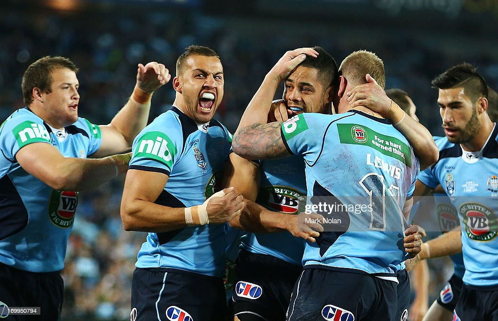 Josh Morris, Blake Ferguson, <a gi-track='captionPersonalityLinkClicked' href=/galleries/search?phrase=Jarryd+Hayne&family=editorial&specificpeople=563352 ng-click='$event.stopPropagation()'>Jarryd Hayne</a> and <a gi-track='captionPersonalityLinkClicked' href=/galleries/search?phrase=Luke+Lewis&family=editorial&specificpeople=243041 ng-click='$event.stopPropagation()'>Luke Lewis</a> of the Blues celebrate a try by <a gi-track='captionPersonalityLinkClicked' href=/galleries/search?phrase=Jarryd+Hayne&family=editorial&specificpeople=563352 ng-click='$event.stopPropagation()'>Jarryd Hayne</a> during game one of the ARL State of Origin series between the New South Wales Blues and the Queensland Maroons at ANZ Stadium on June 5, 2013 in Sydney, Australia.