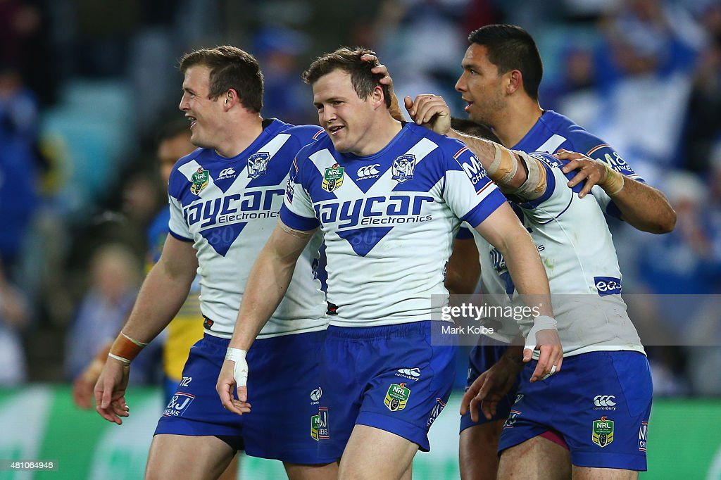Josh Morris Brett Morris Josh Reynolds and Curtis Rona of the Bulldogs celebrate after Brett Morris scored a try during the round 19 NRL match...