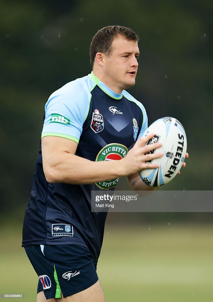 Josh Morris of the Blues runs with the ball during a New South Wales State of Origin training session on May 26, 2016 in Coffs Harbour, Australia.