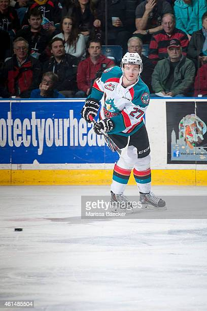Josh Morrissey of Kelowna Rockets passes the puck against the Medicine Hat Tigers on January 10 2015 at Prospera Place in Kelowna British Columbia...