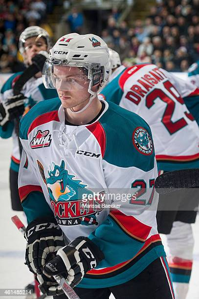 Josh Morrissey of Kelowna Rockets skates by the bench against the Medicine Hat Tigers on January 10 2015 at Prospera Place in Kelowna British...