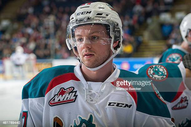Josh Morrissey of Kelowna Rockets stands at the bench during a timeout against the Seattle Thunderbirds on January 16 2015 at Prospera Place in...